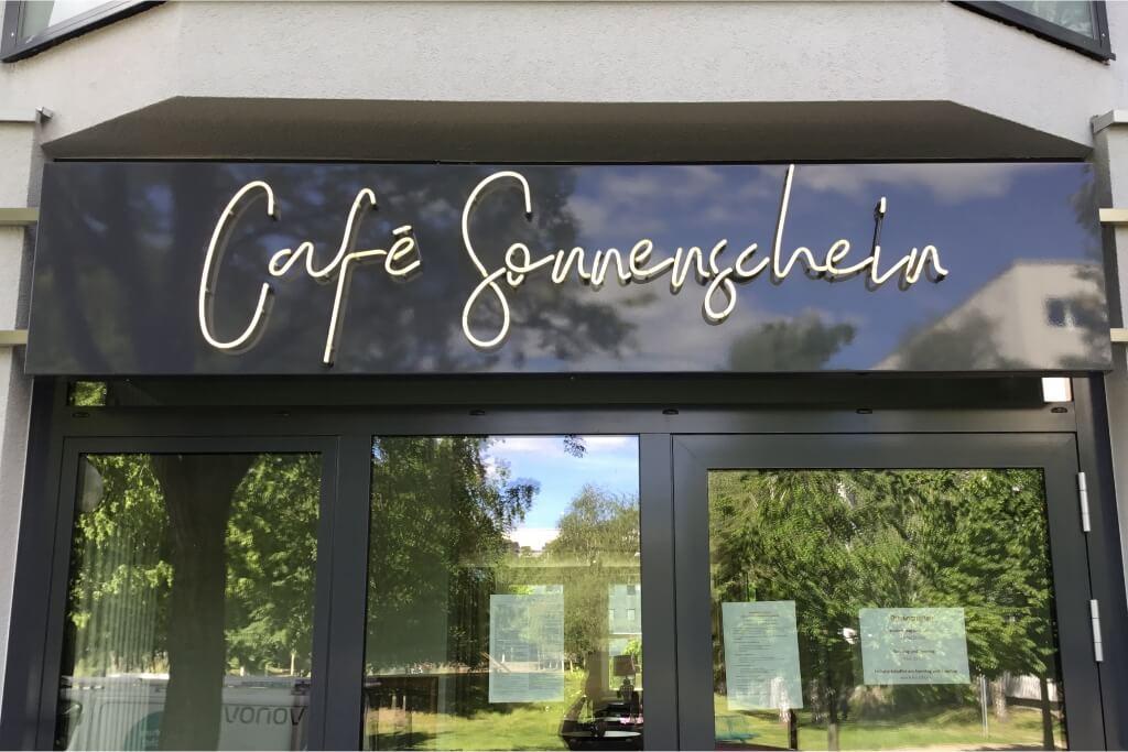 Altay Werbung_Neon_Blende_Cafe Sonnenschein